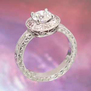 Ring Antique Style Filigree Diamond Engagement Ring