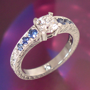 Antique Diamond Sapphire Engraved Ring