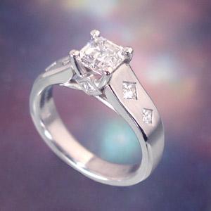 Ring Huntsville Diamond Engagement With 25ct Wof Side Princess Diamonds E F Color VS Clarity